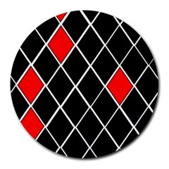 Elegant Black And White Red Diamonds Pattern Round Mousepads