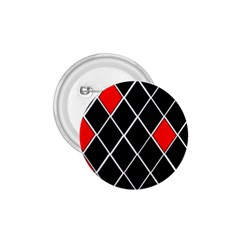 Elegant Black And White Red Diamonds Pattern 1.75  Buttons