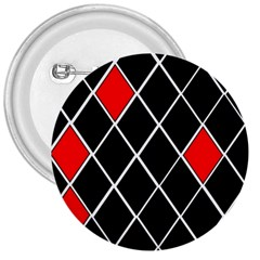 Elegant Black And White Red Diamonds Pattern 3  Buttons