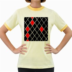 Elegant Black And White Red Diamonds Pattern Women s Fitted Ringer T-Shirts