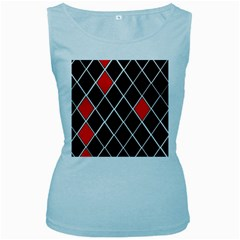 Elegant Black And White Red Diamonds Pattern Women s Baby Blue Tank Top