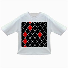 Elegant Black And White Red Diamonds Pattern Infant/Toddler T-Shirts