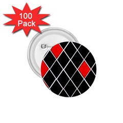 Elegant Black And White Red Diamonds Pattern 1.75  Buttons (100 pack)