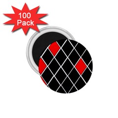 Elegant Black And White Red Diamonds Pattern 1.75  Magnets (100 pack)