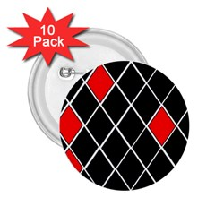 Elegant Black And White Red Diamonds Pattern 2.25  Buttons (10 pack)