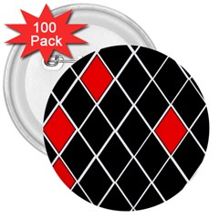 Elegant Black And White Red Diamonds Pattern 3  Buttons (100 pack)