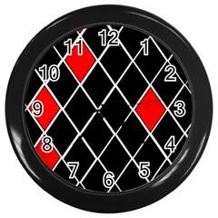 Elegant Black And White Red Diamonds Pattern Wall Clocks (Black)