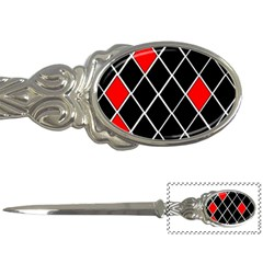 Elegant Black And White Red Diamonds Pattern Letter Openers