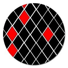 Elegant Black And White Red Diamonds Pattern Magnet 5  (Round)