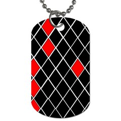 Elegant Black And White Red Diamonds Pattern Dog Tag (Two Sides)