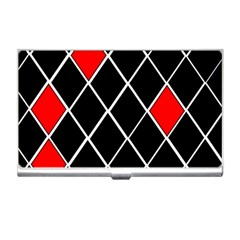 Elegant Black And White Red Diamonds Pattern Business Card Holders