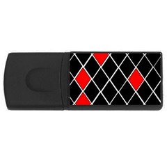Elegant Black And White Red Diamonds Pattern USB Flash Drive Rectangular (1 GB)