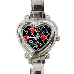 Elegant Black And White Red Diamonds Pattern Heart Italian Charm Watch