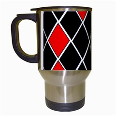 Elegant Black And White Red Diamonds Pattern Travel Mugs (White)