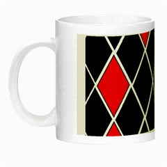 Elegant Black And White Red Diamonds Pattern Night Luminous Mugs