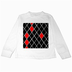 Elegant Black And White Red Diamonds Pattern Kids Long Sleeve T-Shirts