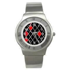 Elegant Black And White Red Diamonds Pattern Stainless Steel Watch