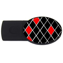 Elegant Black And White Red Diamonds Pattern USB Flash Drive Oval (4 GB)
