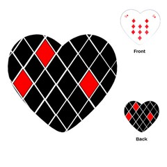 Elegant Black And White Red Diamonds Pattern Playing Cards (Heart)