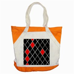 Elegant Black And White Red Diamonds Pattern Accent Tote Bag