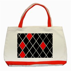 Elegant Black And White Red Diamonds Pattern Classic Tote Bag (Red)