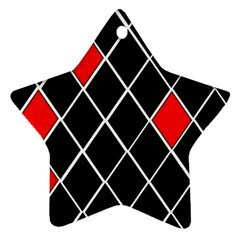 Elegant Black And White Red Diamonds Pattern Star Ornament (Two Sides)