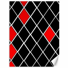 Elegant Black And White Red Diamonds Pattern Canvas 36  x 48