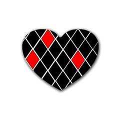 Elegant Black And White Red Diamonds Pattern Heart Coaster (4 pack)