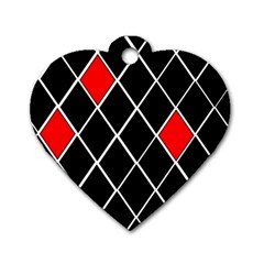 Elegant Black And White Red Diamonds Pattern Dog Tag Heart (Two Sides)