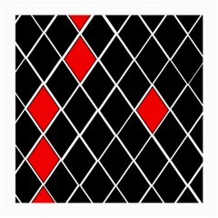 Elegant Black And White Red Diamonds Pattern Medium Glasses Cloth