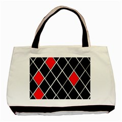 Elegant Black And White Red Diamonds Pattern Basic Tote Bag (Two Sides)