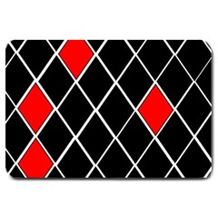 Elegant Black And White Red Diamonds Pattern Large Doormat