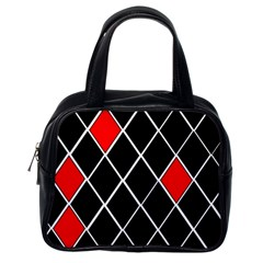 Elegant Black And White Red Diamonds Pattern Classic Handbags (One Side)