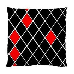 Elegant Black And White Red Diamonds Pattern Standard Cushion Case (Two Sides)