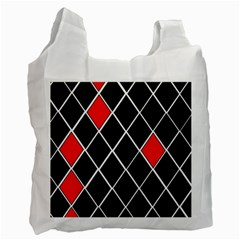 Elegant Black And White Red Diamonds Pattern Recycle Bag (One Side)