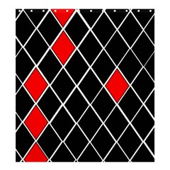 Elegant Black And White Red Diamonds Pattern Shower Curtain 66  x 72  (Large)