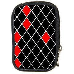 Elegant Black And White Red Diamonds Pattern Compact Camera Cases