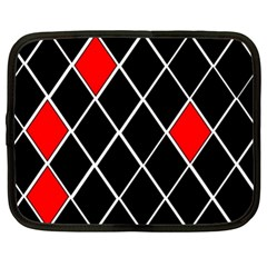 Elegant Black And White Red Diamonds Pattern Netbook Case (XL)