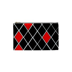 Elegant Black And White Red Diamonds Pattern Cosmetic Bag (Small)