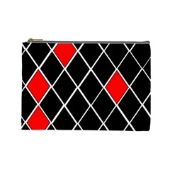 Elegant Black And White Red Diamonds Pattern Cosmetic Bag (Large)