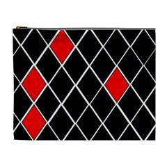 Elegant Black And White Red Diamonds Pattern Cosmetic Bag (XL)
