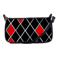 Elegant Black And White Red Diamonds Pattern Shoulder Clutch Bags