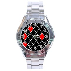 Elegant Black And White Red Diamonds Pattern Stainless Steel Analogue Watch