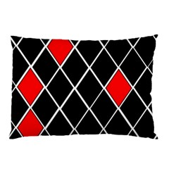 Elegant Black And White Red Diamonds Pattern Pillow Case (Two Sides)