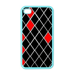 Elegant Black And White Red Diamonds Pattern Apple iPhone 4 Case (Color)