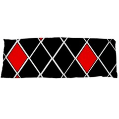 Elegant Black And White Red Diamonds Pattern Body Pillow Case Dakimakura (Two Sides)