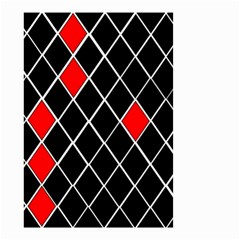 Elegant Black And White Red Diamonds Pattern Small Garden Flag (Two Sides)