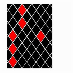 Elegant Black And White Red Diamonds Pattern Large Garden Flag (Two Sides)