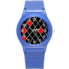 Elegant Black And White Red Diamonds Pattern Round Plastic Sport Watch (S)