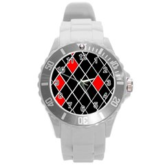 Elegant Black And White Red Diamonds Pattern Round Plastic Sport Watch (L)